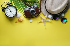 Flat Lay Traveling Holiday Vacation Yellow Background Copy Space.  stock photos
