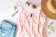 Free Flat Lay Trendy Fashion Feminine Background. Fashion Beauty Background. Summer Look Trend. Stock Photo - 103469890