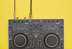 Flat lay of updated DJ mixer stock images