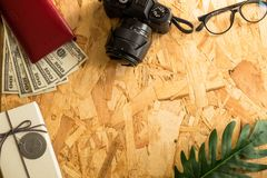 Flat lay vacation, travel, tourism, shopping and objects , vinta stock image
