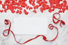 Flat-lay background for Valentine`s Day, love, hearts, gift box Copy space royalty free stock image