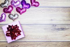 Flat-lay background for Valentine`s Day, love, hearts, gift box Copy space royalty free stock photography