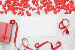 Flat-lay background for Valentine`s Day, love, hearts, gift box Copy space royalty free stock images