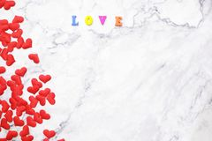 Flat-lay background for Valentine`s Day, love, hearts, gift box Copy space stock photos