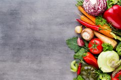 Flat lay of various colorful raw vegetables. Stock Photo