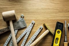 Flat lay of various technician tools  Royalty Free Stock Images