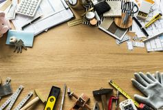Flat lay of various technician tools isolated Royalty Free Stock Photos