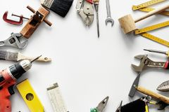Flat lay of various technician tools isolated on white background Royalty Free Stock Image