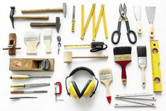 Flat lay of various technician tools  on white background Stock Photo