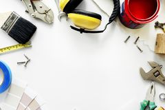 Flat lay of various technician tools  on white background Royalty Free Stock Photos