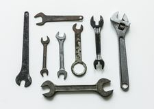 Flat lay of various wrench Stock Image