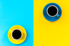 Flat lay vibrant design of minimalist pattern, coffee cups Stock Photo