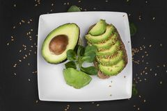 Flat lay view on a avocado sandwich royalty free stock images