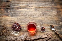 Flat lay view of cup of tea Royalty Free Stock Photos