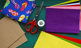 Flat lay view of Felt sheet and scissors. Stock Photo
