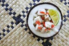 Flat lay view of Fijian Food, Kokoda Raw Fish Salad Stock Photos