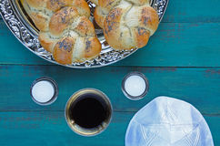 Flat lay view of Jewish Shabbat eve table Stock Images