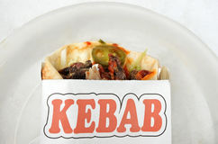 Flat lay view of Kebab wrap with grilled lamb Stock Photos