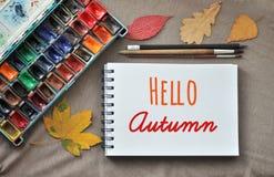 Hello autumn concept. stock photography