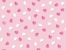 Flat lay of white and pink heart shaped paper scattered on pastel pink background. Seamless pattern vector illustration. stock images