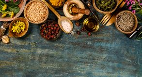 Flat lay of wild healing herbs Royalty Free Stock Photo