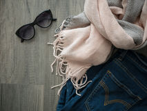 Flat lay of winter cloth with copy space Royalty Free Stock Photos