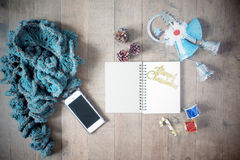 Flat lay of winter scraft, empty notebook, Christmas decoration Stock Photography