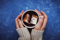 Flat lay of woman`s hands in sweater holding cocoa or hot chocolate
