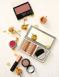 Flat lay with woman`s make up products on white background royalty free stock photography