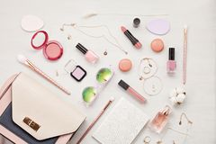 Flat lay with women accessories. Fashion and shopping concept Stock Photos