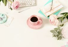Flat lay women`s office desk. Female workspace Royalty Free Stock Photography