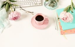 Flat lay women`s office desk. Female workspace Royalty Free Stock Images