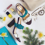 Flat lay Women`s shoes and accessories collage. Beauty and fashi. On background. Top view with copy space Stock Images