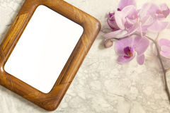 Flat lay wooden frame stock image