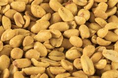 Close up heap spiced peanuts royalty free stock photography