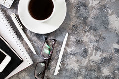 Flat lay of workplace in office with business accessories. Corpo Royalty Free Stock Photography