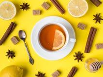 Flat lay on the yellow bright background Black tea Lemon Cinnamon Star Anise brown sugar jar of Honey Close up. Flat lay on the yellow bright background Black Stock Photography
