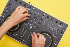 Flat layout of mixing board and hands Stock Images