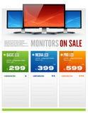 Flat LCD Monitor Display Sale Brochure vector Stock Photo
