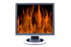 Flat LCD TV. Displaying fire isolated on white Stock Photos