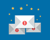 Flat letter counter notification  Emailing c. Flat messages in white envelopes with place counter and stars around, email correspondence success  illustration Stock Photos