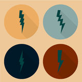 Flat lightning symbols set Royalty Free Stock Photography