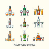 Flat line alcoholic drinks icons Stock Photos
