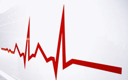 Flat line alert on heart. Red Flat line alert on heart stock images