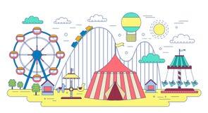 Flat line amusement circus park isolated on white background. royalty free illustration