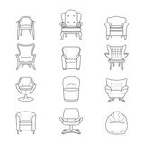 Flat line armchair vector isolated icons set Stock Image