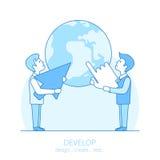 Flat line art business man develop idea concept ve Stock Image