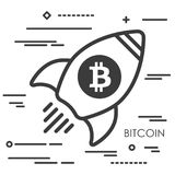 Flat line art concept illustration of spaceship with bitcoin cry. Ptocurrency icon Royalty Free Stock Images