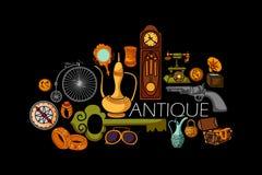 Flat line art design of antique Vintage concept Royalty Free Stock Photo