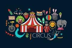 Flat line art design of Circus concept Stock Image